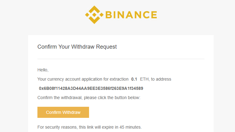 Binance Email Confirmation