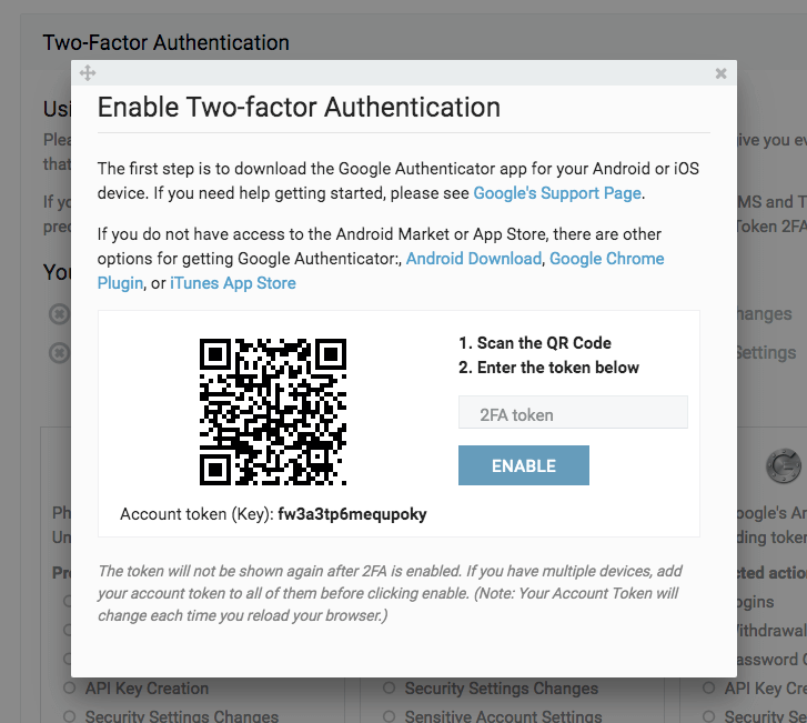 Google Authenticator QR Code bei bitfinex