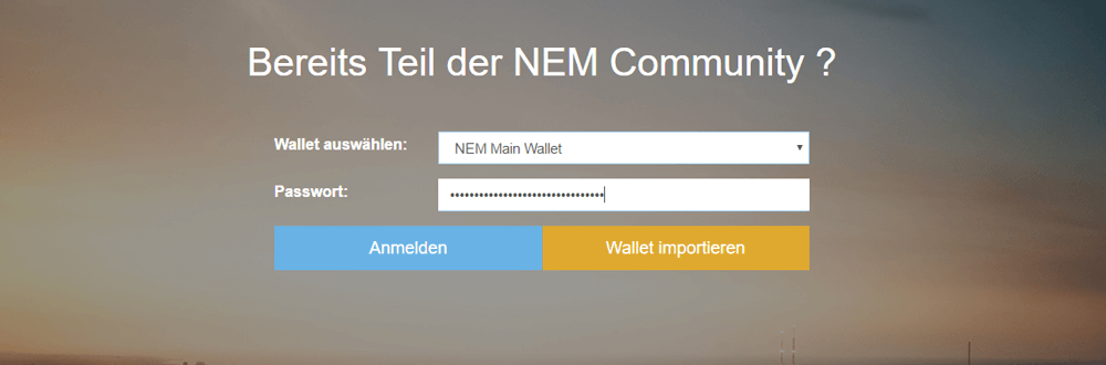 NEM (XEM) New Economy Movement Wallet Login