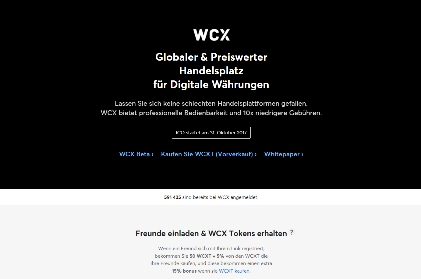 WCX Handelsplattform Website Screenshot